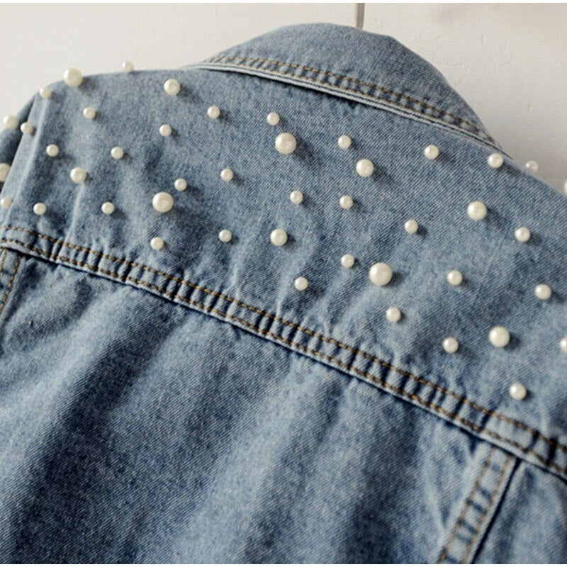 Pearl Beading Short Denim Jacket