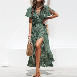 Short-Sleeve Floral Print Wrap Long Dress