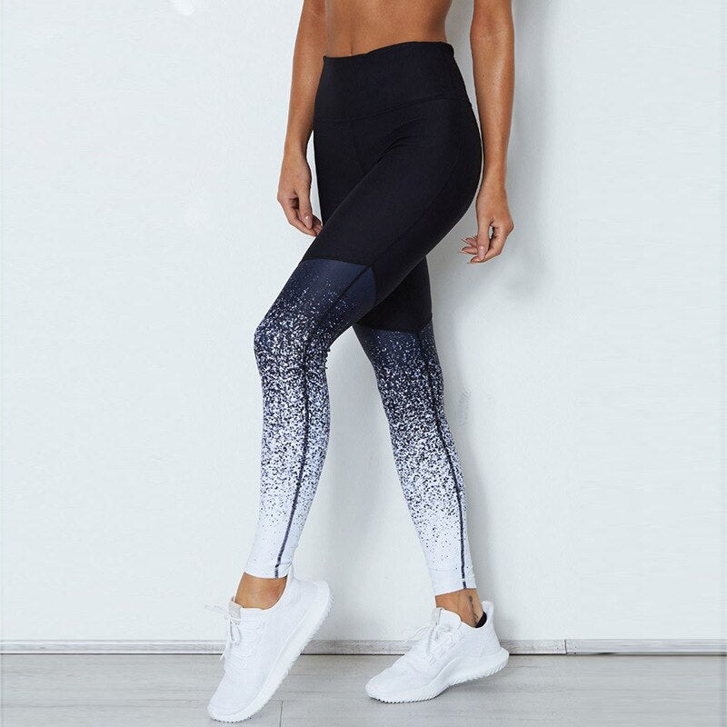Gradient Detailing High Waist Leggings + Crop Top