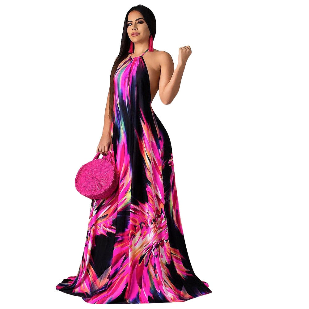 Elegant Floral Print Halter Long Dress