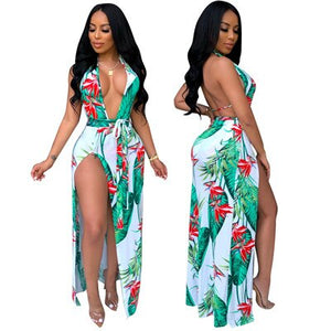 Leaf Floral Print Halter High Slit Dress