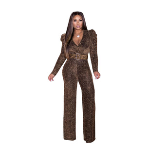 Glitter Wide Leg Pants Jumpsuit
