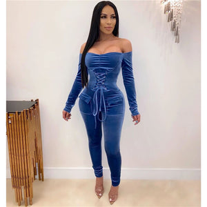 Lace Up Bandage Velvet Jumpsuit