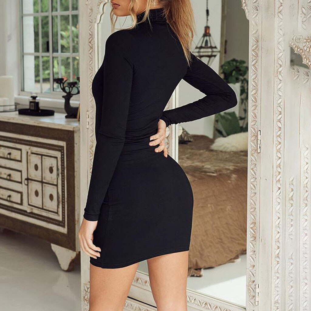 Black Turtleneck Knitted Sweater Dress