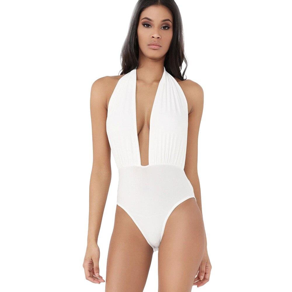 Plunge Halter Backless Stretch Swimsuit