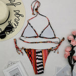 Geometric Print Halter Bandage Push Up Bikini
