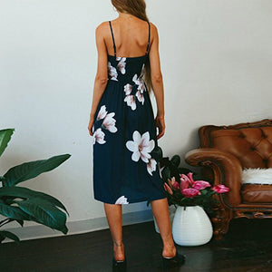Bohemian Style Button Floral Print Sundress