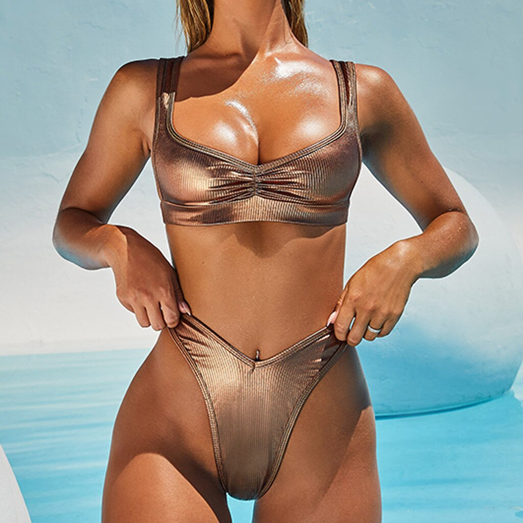 Gold High Waist Push Up Swimwear