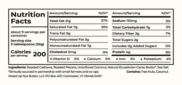nutrition label for coconut cashew pecan butter