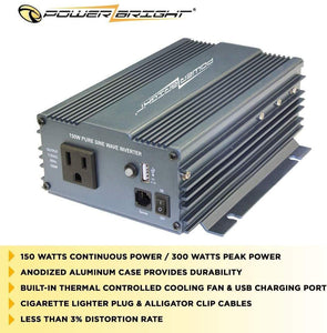 PowerBright Pure Sine Power Inverter 150 Watt image of anodized case durability built-in fan less than 3% distortion rate