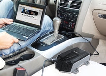 Load image into Gallery viewer, Energizer 500 Watt Power Inverter 12V image of connection to car and laptop