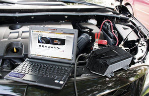 Energizer 500 Watt Power Inverter 12V image of using in car and laptop.