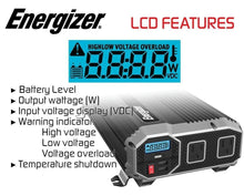 Load image into Gallery viewer, Energizer ENK1500 - 1500 Watt 12v DC to 110v AC Power Inverter Kit image of LCD features