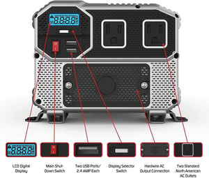 Energizer 3000 Watt 12V Power Inverter image of front features