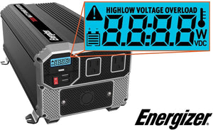 Energizer 3000 Watt 12V Power Inverter image of LCD features