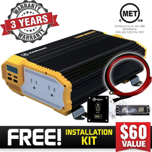 KRIËGER 1100 Watt 12V Power Inverter image of 3 years warranty