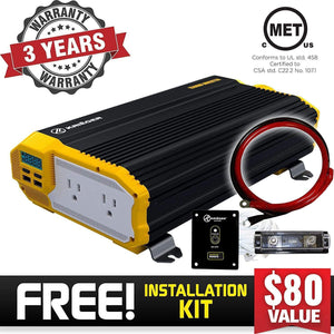 Krieger 1500 Watts Power Inverter 12V to 110V image of warranty and installation kit