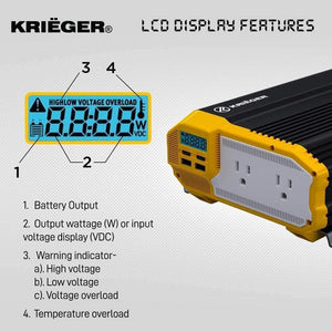 Krieger 1500 Watts Power Inverter 12V to 110V LCD display features