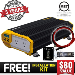 Krieger 2000 Watts Power Inverter 12V to 110V image of warranty and installation kit