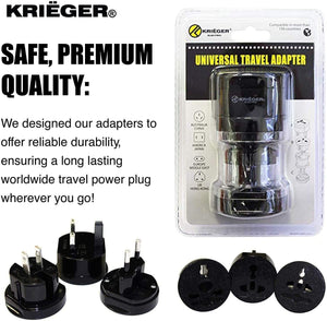 KRIGER Small Size Worldwide International Travel Plug Adapter Kit  image of safe premium quality