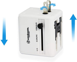 KRIEGER Universal Worldwide All-in-one Travel Charger Adapter Plug image of product