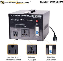 Load image into Gallery viewer, PowerBright Step Up & Down Transformer 220-240 Volt to 110-120 Volt AND from 110-120 Volt to 220-240(1500W)  image of  features