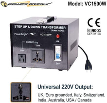 Load image into Gallery viewer, PowerBright Step Up & Down Transformer 220-240 Volt to 110-120 Volt AND from 110-120 Volt to 220-240(1500W)  image of universal output