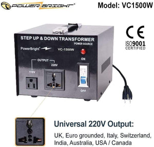PowerBright Step Up & Down Transformer 220-240 Volt to 110-120 Volt AND from 110-120 Volt to 220-240(1500W)  image of universal output