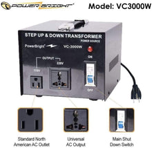 Load image into Gallery viewer, VC3000W PowerBright 3000 Watts Voltage Transformer image of features
