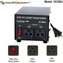 Load image into Gallery viewer, VC300J PowerBright 300 Watts Japanese Voltage Transformers image of features