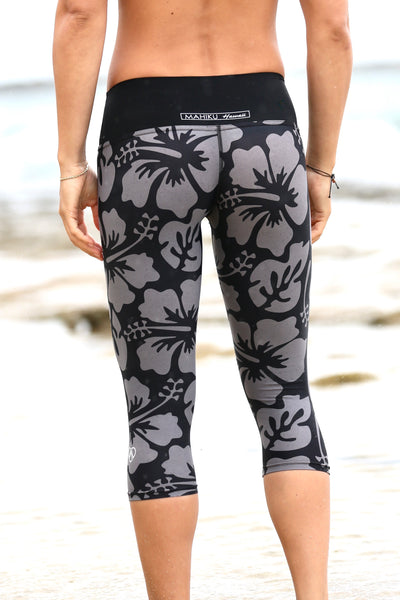 Black/Grey Aloha YOGA Capri