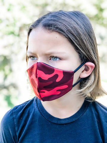 KIDS RED Camo Face Mask