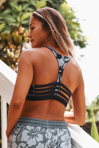 Aloha Grey Caged Back Sport Bra
