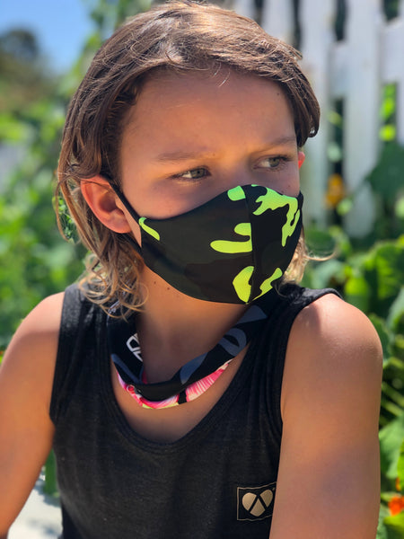KIDS Camo Neon Green Face Mask