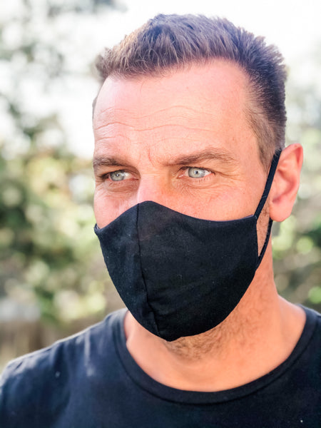 Solid BLACK Reversible Face Mask