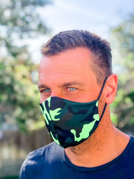 NEON Camo Green Face Mask