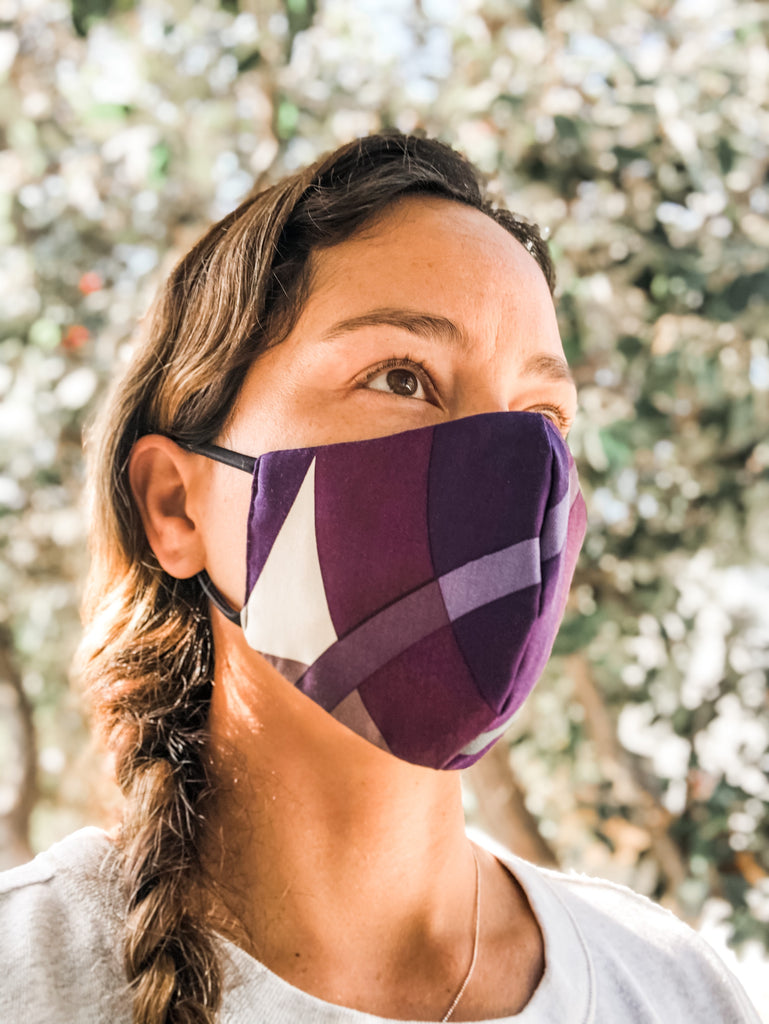 Purple Color Block Reversible Face Mask
