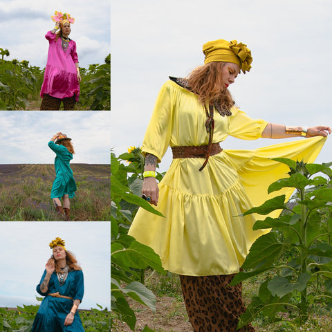 woman adorn_with_attitude wearing style ausus in sunflower fields