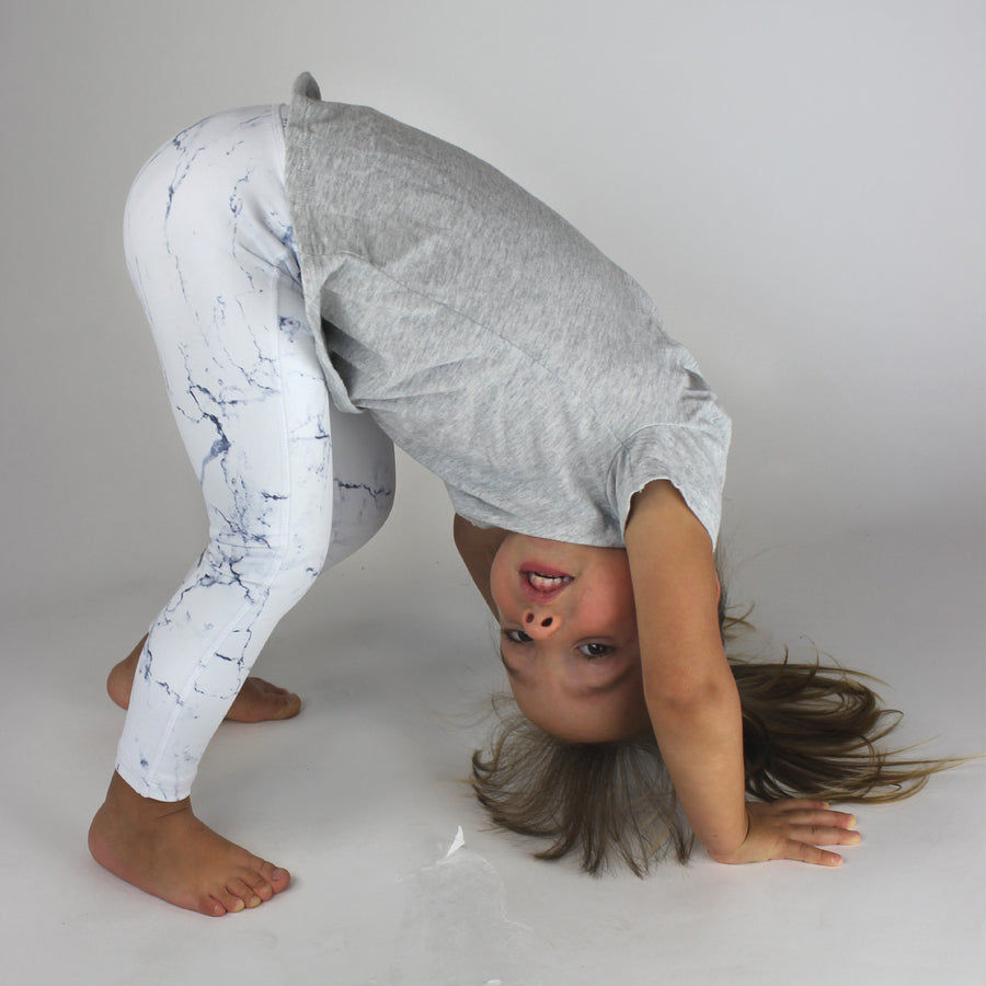 KIDS White Marble Legging [Luxe Fabric]