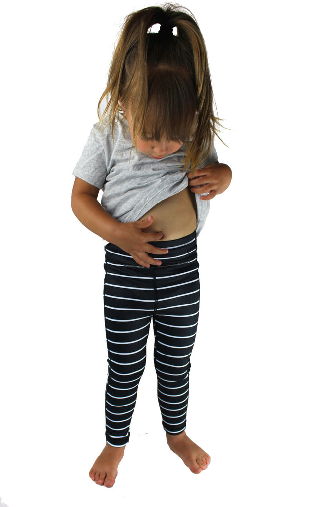KIDS Striped Legging - Black with White Stripes [Luxe Fabric]