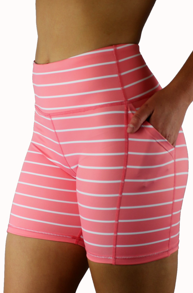 Coral Pink Striped Shorts 5