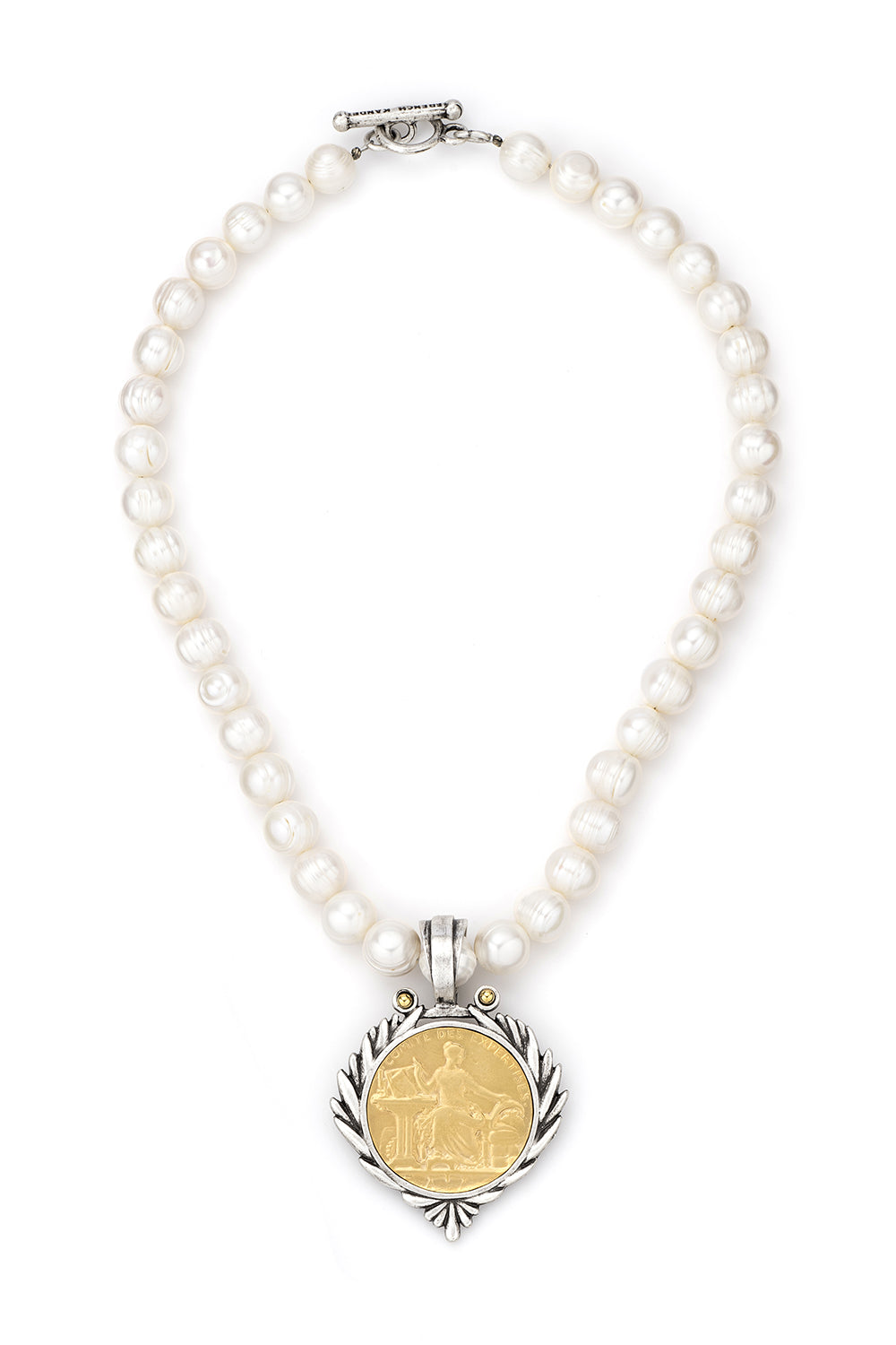 Gold Comite Medallion with Pearls