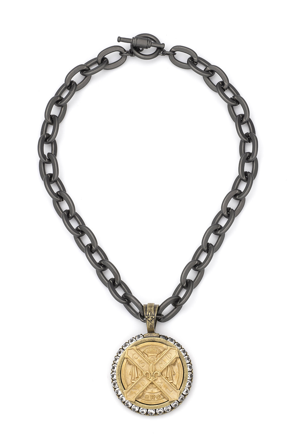 Cuvee B Medallion Necklace with Black Lourdes Chain