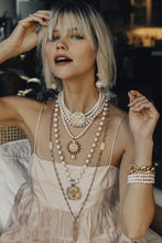 Load image into Gallery viewer, Canard Miel Medallian Necklace with Pearls