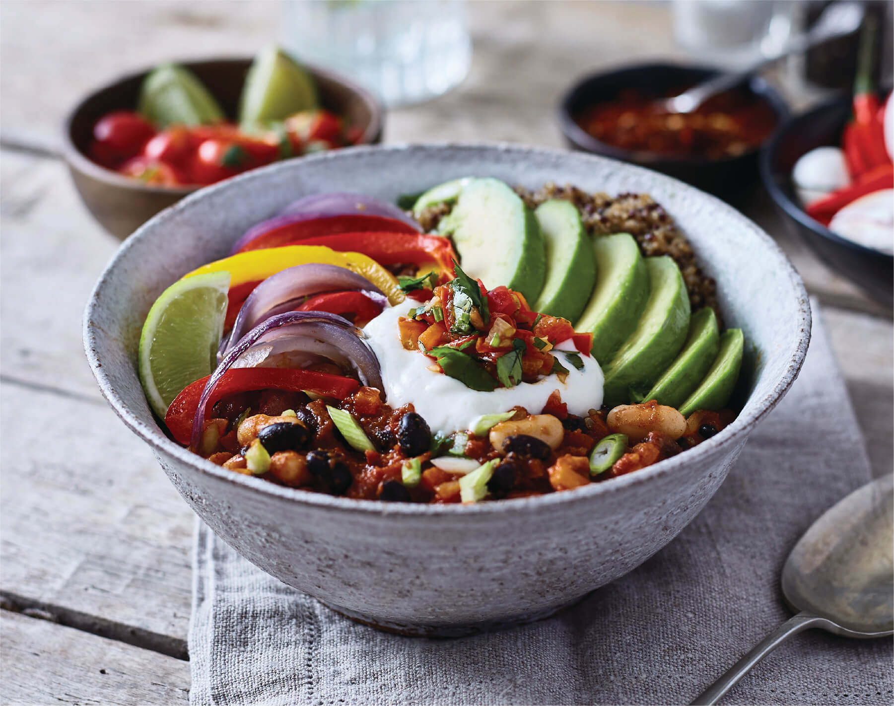 Mexican bean & quinoa burrito bowl quick view open