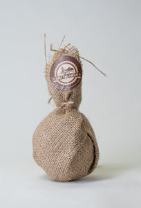 Small Artisan Round Burlap Bag