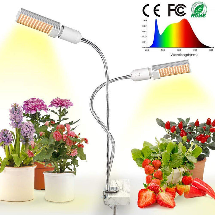 LED Grow Light for Indoor Plants 15000Lux Sunlike Full Spectrum Grow Lamp Dual Head Gooseneck Plant Light with Replaceable Bulbs, Professional for Seedling Growing Blooming Fruiting