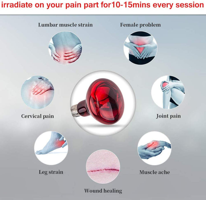 New 150W Near Infrared Light Red Light Therapy Heat Lamp Set for Body Muscle Joint Pain Relief with Improve Sleep Blood Circulation Back Shoulder Finger Pain Home only  110V