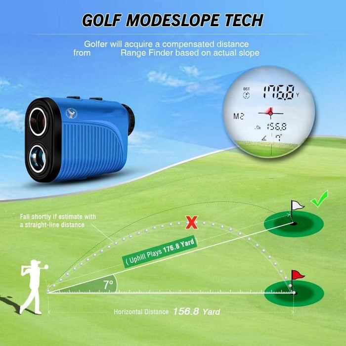 Golf Rangefinder,1500 Yard Laser Range Finder with Slope Calculated, Pin Sensor,Flag-Lock,Slope ON/Off Continuous Scan for PGA Golfer 6X Rechargeable Golf Rangefinder