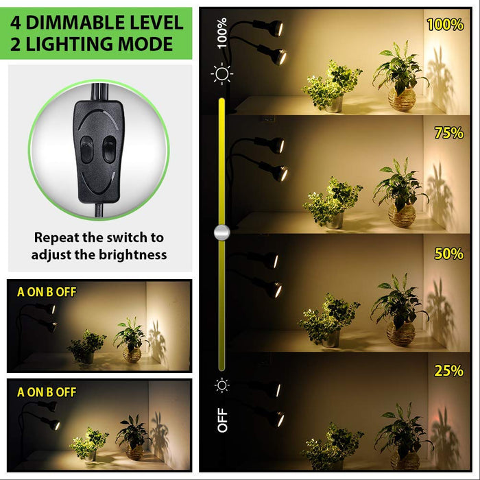 Full Spectrum Grow Light,  LED Grow Lamp for Indoor Plants 300W Equivalent with CREE COB, Cellular Lens, C-Clamp, Adjustable Gooseneck, 4 Dimmable Options, 2 Independent Lamps